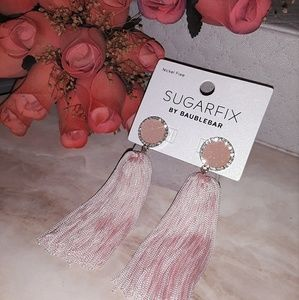 Baby Pink Tassel Druzy Dangle Earrings
